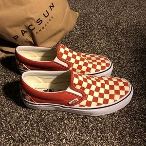 checkered vans (hot sauce/ true white color)